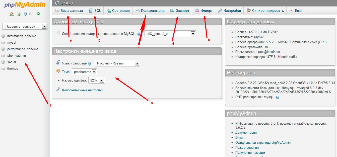 Обзор возможностей PHPMyAdmin