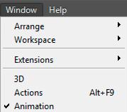 Как активировать окно анимации в PhotoShop