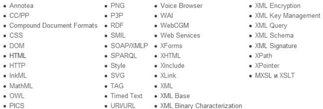Стандарты утвержденные W3C