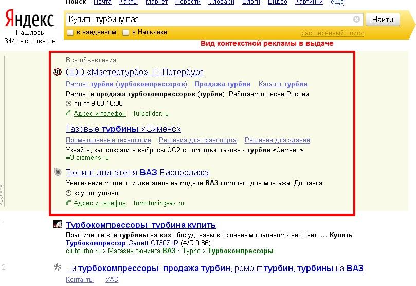 Контекстная реклама в SERP Яндекса