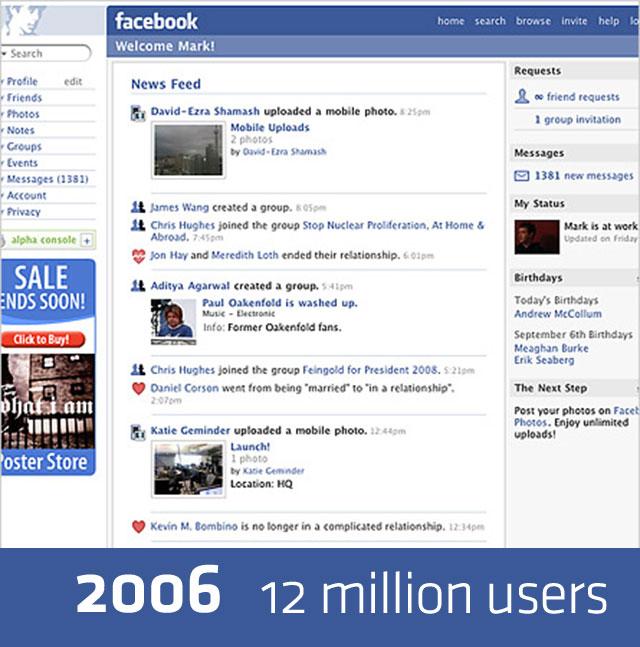 Дизайн FaceBook в 2006 году