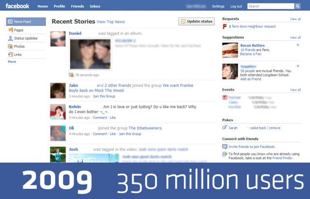 Дизайн FaceBook в 2009 году